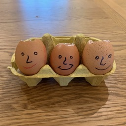 Eggs decorated for cress heads