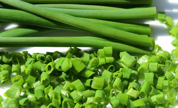 Cut chives ready for cooking